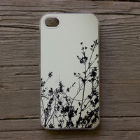 "FREE SHIPPING iPhone 4 /4S case ""Silhouette I"" ,tree, branches, nature, white, black, cream"