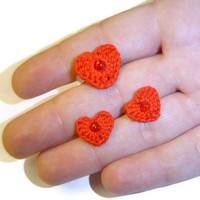 Crochet Heart Jewellery Set, Red Crochet Earrings, Red Crochet Ring, Crochet Stud Earrings, Red Heart, Christmas, Gift for Her