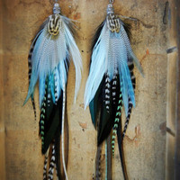 SALE - 15% OFF the ENTIRE shop: Mermaid Extra Long Feather Earrings