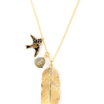 Feather Necklace - Gold Necklace - Bird Necklace - $12.00