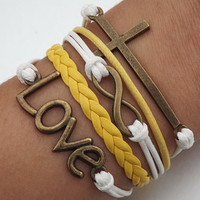 Jewelry Unisex fashion Bronze 8 infinity wish cross  LOVE and cross bracelet yellow leather and white wax rope braided leather bracelet