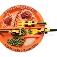 CONSTRUCTIVE EATING PLATE &amp; UTENSILS