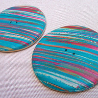 Hand Crafted Polymer Clay Buttons, large 2 inch round, teal cream rust