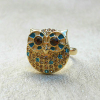 Sparkling Pavé Owl Ring [3557] - $14.00 : Vintage Inspired Clothing & Affordable Fall Frocks, deloom | Modern. Vintage. Crafted.