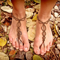 Pair of Brown Barefoot Sandals Anklet Yoga Beach Wedding Bellydance hippie boho gypsy festival