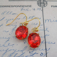 Tangerine Glam Swarovski Crystal Earrings