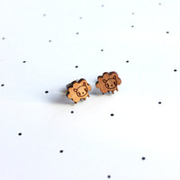 Wooden Laser Cut Sheep Earrings