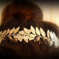 ATHENA Grecian Leaf Headpiece in Raw Brass