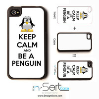 NEW Keep Calm And Be A Penguin n-Sert iPhone 4, 4s, 5 Case with Changeable Inserts