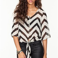 A'GACI Chevron Stripe Tie Front Blouse - TOPS
