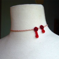 Crochet Vampire BITE silk cashmere necklace by meekssandygirl