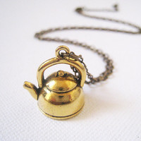 Antique Gold Teapot Necklace by lunashineshine on Etsy