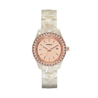FOSSIL® Watch Styles Neutral Watches:Watch Styles Stella Mini Resin Watch - Pearlized White with Rose ES2864
