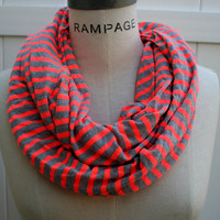 Orange Infinity Scarf FREE SHIPPING Women Scarves Jersey Infinity Scarf Orange Grey  Stripes Retro Scarf - By PIYOYO