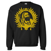 Zig Zag Man Crew Neck Sweat Shirt Marijuana Leaves Free Shipping.