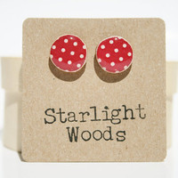 Red polka dot stud earrings summer jewelry 50's fashion eco fashion eco-friendly unique gift for her