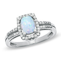 Cushion-Cut Lab-Created Opal and White Topaz Frame Ring in Sterling Silver - View All Rings - Zales