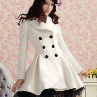 fashion women slim wool blend trench warm coat dress jacket double breasted