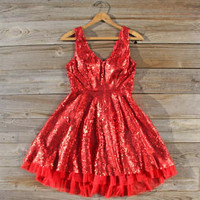 Dazzling Dusk Party Dress in Red, Sweet Women's Bohemian Clothing