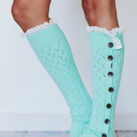 Mint Lacy Knitted Button Down Leg Warmers Aqua Crochet Trim Boot Socks in Tiffany Blue LegWarmers