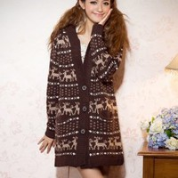 Hot Sale Girls Loved Elk Prints Knit Coats Coffee : Wholesaleclothing4u.com