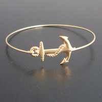Anchor Bracelet, Gold Anchor Bangle, Nautical, Anchor Charm Bracelet, Ocean Jewelry, Navy Wife Jewelry, Nautical Jewelry, Anchor Jewelry