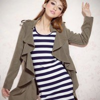 Wholesale Japanese Fashion Ladies Army Green Jackets : Wholesaleclothing4u.com