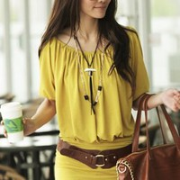 Off-shoulder Juniors Yellow Short Sleeve Dresses : Wholesaleclothing4u.com