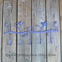 Metal Wall Hook /Purple Bird/ Shabby Chic Decor /Tree Branch /Ornate Bathroom Hanger /Key Holder /Bedroom /Mud Room Rack /Laundry /Nursery