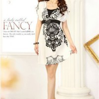 Honorable High Waist Ladies Dresses White : Yoco-fashion.com