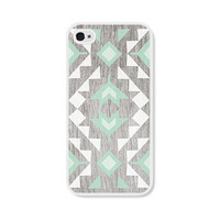 Geometric Apple iPhone 5 Case - Plastic iPhone 5 Cover - Wood Tribal Southwest iPhone Case Skin - Mint Green Brown White Cell Phone For Him