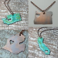 Copper State Necklace Heart or Star Cut Out MADE TO ORDER