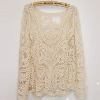 Women&#x27;s Pullover Long Sleeve T-shirt Lace Retro Floral Knitwear Top Waistcoat