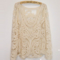 Women's Pullover Long Sleeve T-shirt Lace Retro Floral Knitwear Top Waistcoat