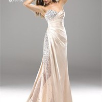 Strapless Beaded Sweetheart Neckline Pleated Satin Prom Dress PD2105