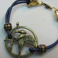 Bracelet leather Mocking Jay Hunger Games Extender chain