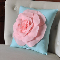 Baby Pink Rose on Aqua Pillow Baby Nursery Decor by bedbuggs