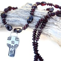 Southwest Cross Garnet Handmade Necklace Sterling Gemstone OOAK Unique