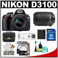 Nikon D3100 Digital SLR Camera & 18-55mm VR + 55-200mm VR Lens with 16GB Card + Filters + Case + Accessory Kit | www.deviazon.com