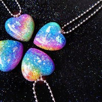 Somewhere Over the Rainbow Glitter Heart Resin by isewcute on Etsy