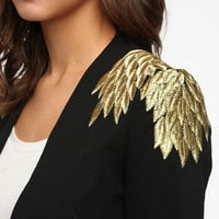 Sparkle &amp; Fade Embroidered Leaves Blazer