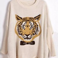 Vintage Tiger Pattern Sweater - Designer Shoes|Bqueenshoes.com