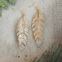 Sparkling Tiered Feather Earrings [3582] - $22.00 : Vintage Inspired Clothing & Affordable Fall Frocks, deloom | Modern. Vintage. Crafted.