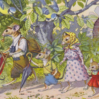 MOUSE FAMILY, Eugen HARTUNG, No. 4768,  Mice, Comic, Vintage Postcard, 1940s - 1960s. Unused, Scalloped Edges, Mainzer, Kunzli