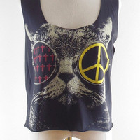 Cat Glasses Shirt -- Cat Cross Shirt Cat Peace Shirt Women Shirt Crop Tee Crop Shirt Crop Top Singlet Shirt Tank Top Women T-Shirt Size M