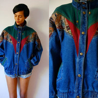 Vtg Denim Tapestry Patched Green Burgundy Brown Jean Jacket