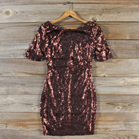 Rose Gold Party Dress in Bronze, Sweet Women's Bohemian Clothing