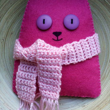 Stuffed felt pink cat with crochet scarf, ready to ship