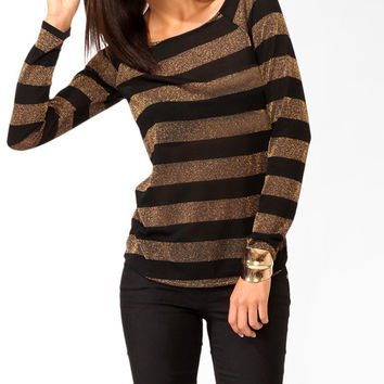 Striped Metallic-Blend Top