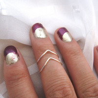 Silver Chevron Knuckle Rings Set of 2